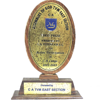 AWARDED FOR ACTIVE PARTICIPATION IN TRIVANDRUM SECTION CA CAMPS